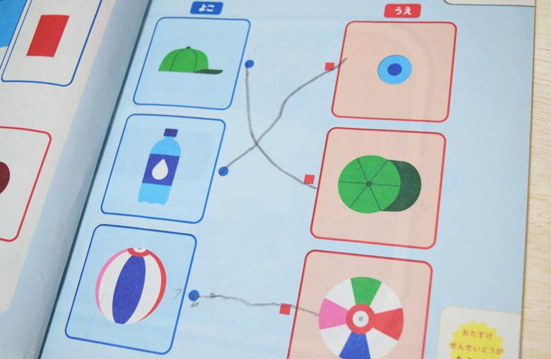 こどもちゃれんじ総合コースは「横」「上」の2方向からみて、どんな形にみえるのかと解かせるもの