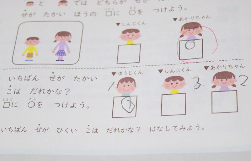 3人の内背が一番高いのは…思考力特化コースのワーク問題